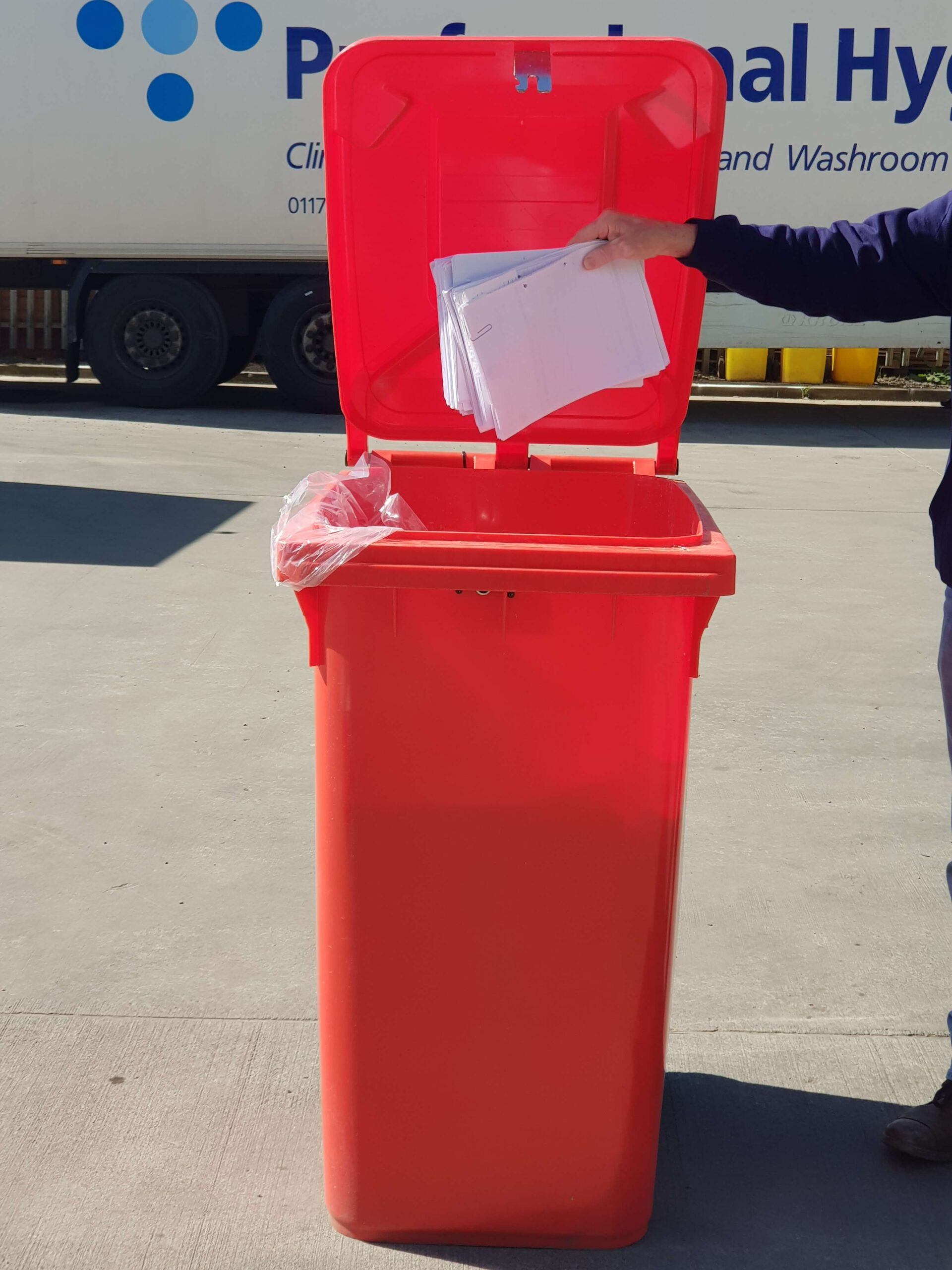 Image of the bin service provided to manage your confidential waste